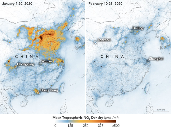 Map showing air pollution levels in China after coronavirus quarantine