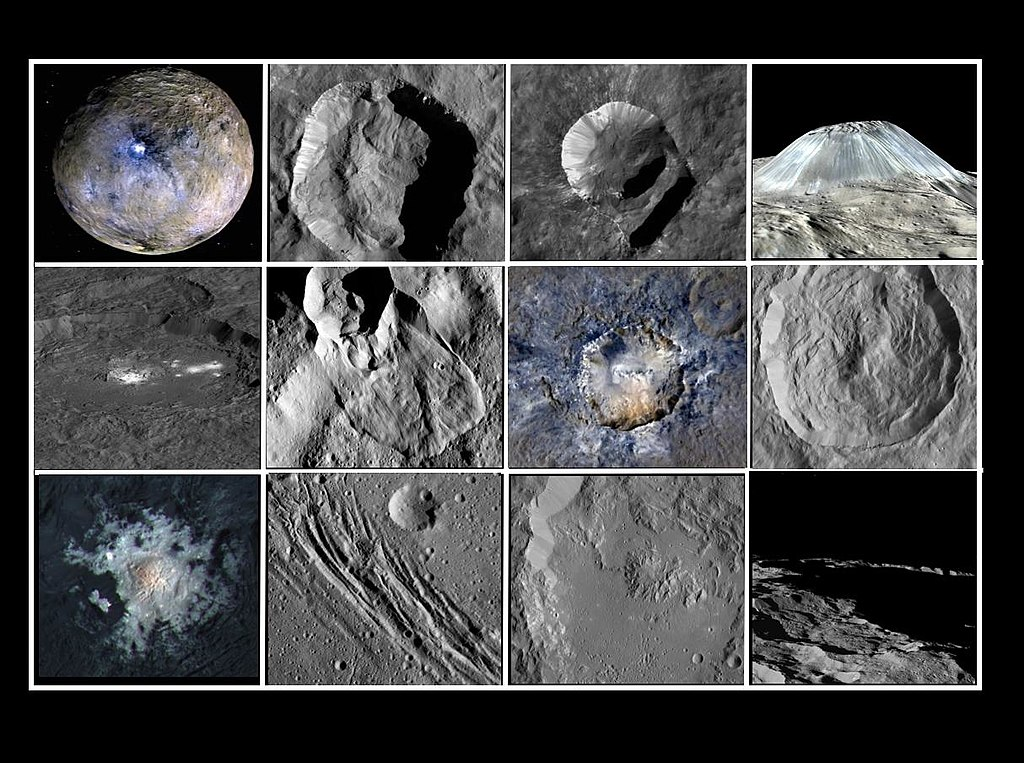 Surface features of planet Ceres